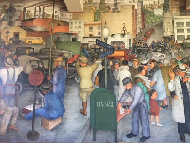 Men and women in industry depicted in Coit Tower mural