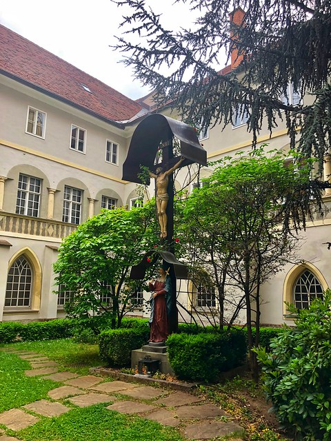 jesus on cross in the inner courtyard of the Franciscan Monastery