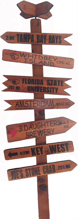 journeymakers, personalized mile markers, custom sign posts, travel signs, travel road signs