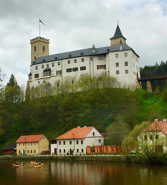 kayak, vltava river, rosenberg castle, cesky krumlov, czech republic