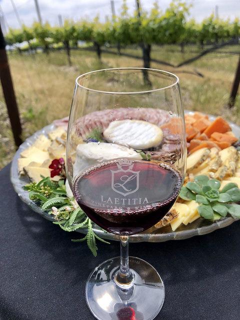 pinot noir, red wine, cheese plate, laetitia vineyard & winery, arroyo grande, california, slo wine country