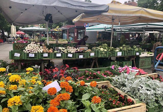 flowers, green bins filled with onions, cabbage, lettuce, lendplatz farmers market in Austria.