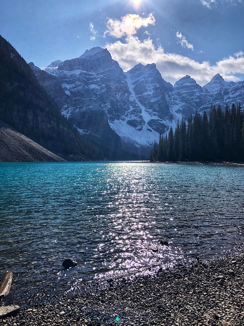 Moraine Lake with Valley of the 10 Peaks in the background in October, 2020.
