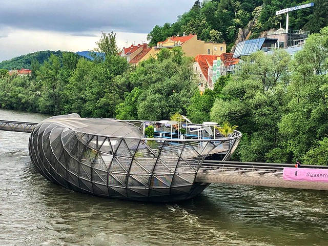 mur island floating art connecting old and new graz austria