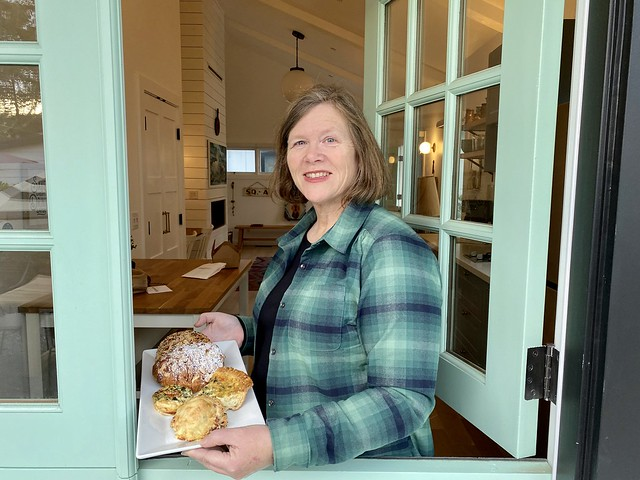 Travel Writer Nancy D. Brown holds a plate of pastries for breakfast at The Bungalows at Calistoga.