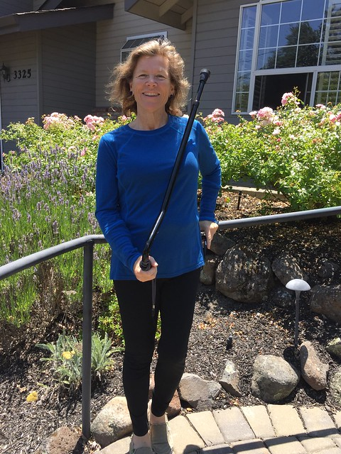 Travel Writer Nancy D. Brown with her cane after hip replacement surgery.