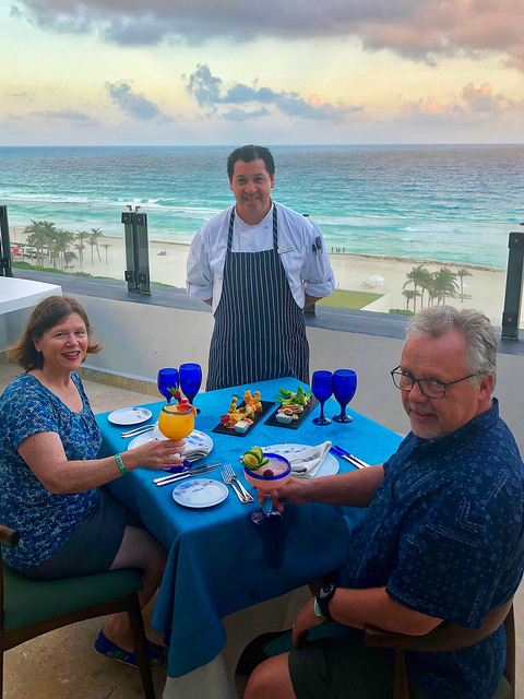 nancy d brown, cory brown, chef moises ortiz, park royal cancun beach resort hotel review, cancun mexico all inclusive