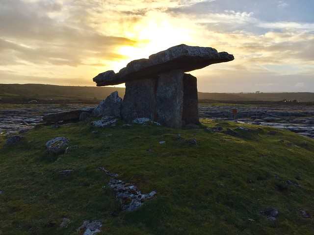 Poulnabrone Dolmen at Sunset, The Burren, County Clare, Ireland.