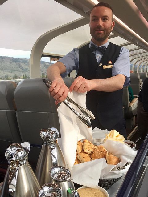 canadian hospitality, goldleaf service, rocky mountaineer, scones, gourmet dining, british columbia, canada, train travel