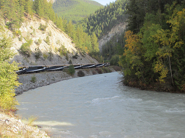 rocky mountaineer, kicking horse river, british columbia, canada, train