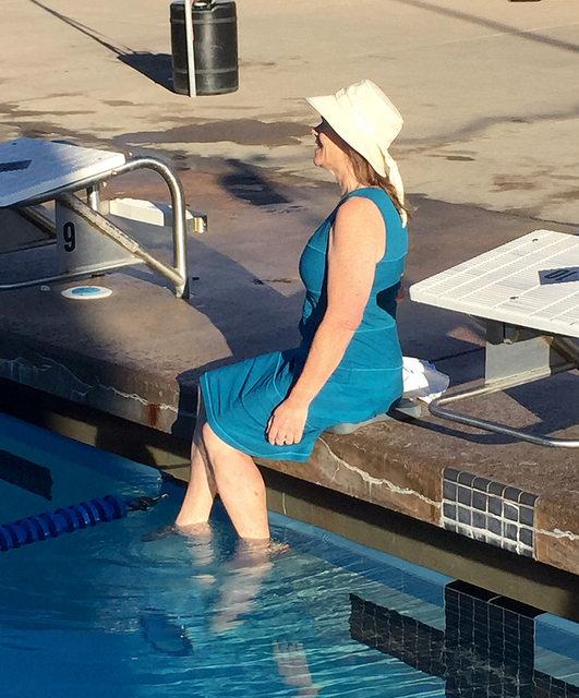 Royal Robbins dress, Tilley sun hat