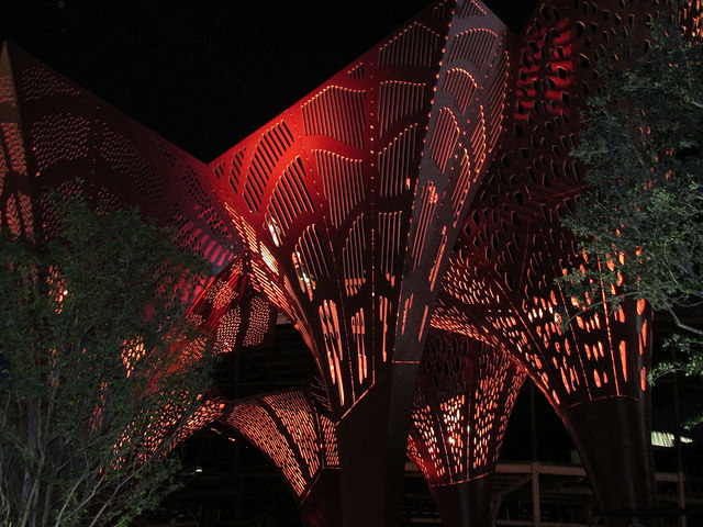 the park las vegas, shade structures, red rock color, las vegas strip park, Nevada