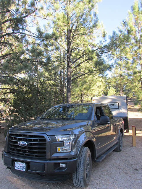ford f150 truck, starcraft trailer, rubys inn rv park & campground, bryce canyon, utah