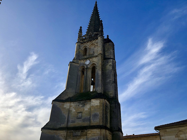 saint emilion monolithic church, bell tower, france