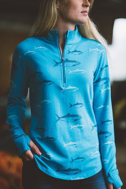 salmon sisters, small fins half zip fleece top, travel apparel, homer, alaska