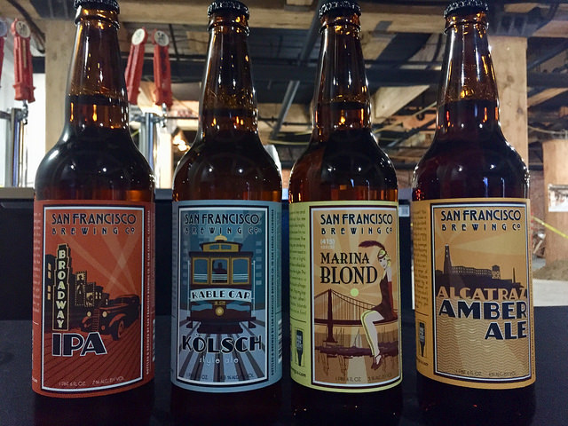 sf brewing company, alcatraz amber ale, marina blond, kable car ale, broadway ipa, san francisco