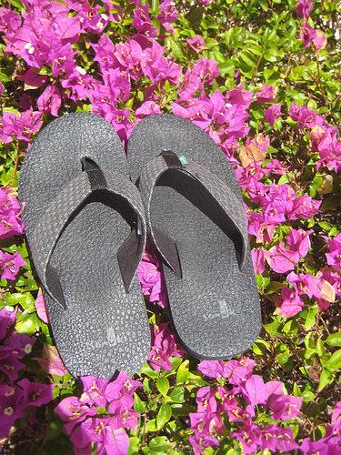 sanuk flip flops, yoga mat, sandals