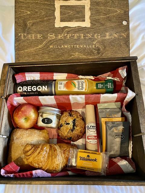 Setting Inn Willamette Valley wine country breakfast in a box.