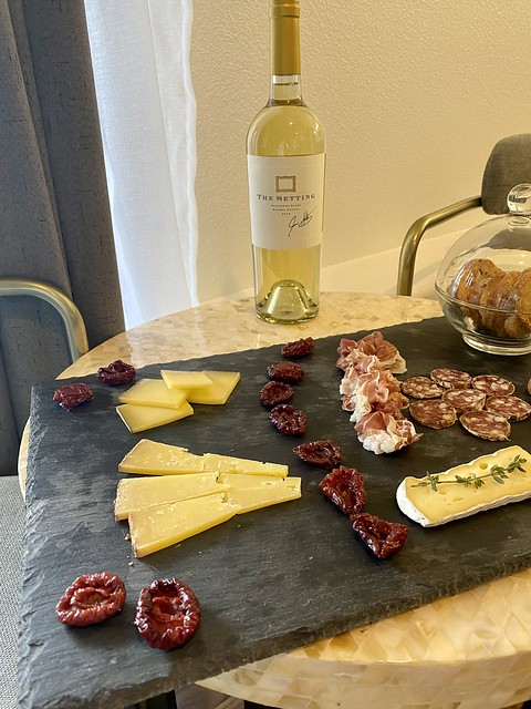 Charcuterie plate with The Setting Wine