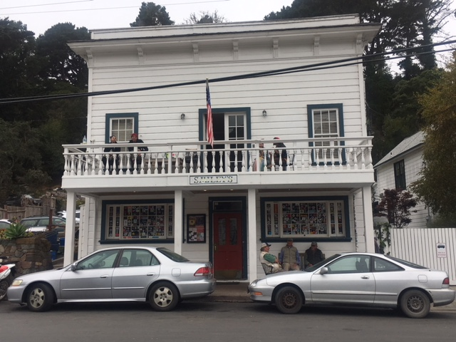 the facade of Smileys Saloon and Hotel in Bolinas, CA