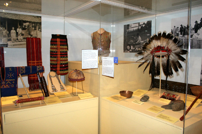 """The exhibit about the 1904 World's Fair highlights """"exotic"""" cultures like the Philippines and Native Americans"""