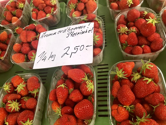 Baskets of alpine strawberries from Styria, Austria.