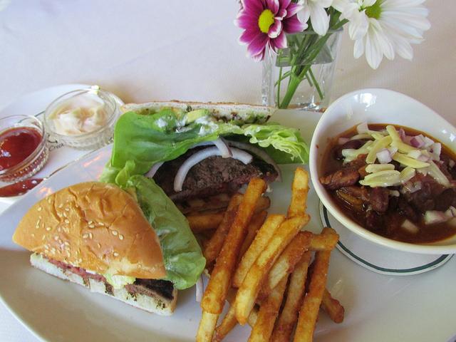 Triple Creek Ranch, wagyu burger, Nick's famous chili