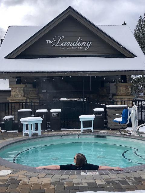 hot tub, the landing resort and spa in south lake tahoe, nancy d brown in hot tub