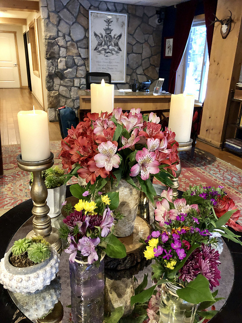 hotel lobby, fresh flowers, the landing resort and spa in south lake tahoe california