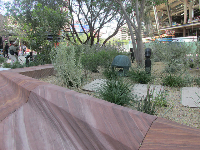 Meta-quartzite stone, planter boxes, the park las vegas, the park