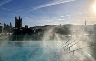 thermae bath spa, thermae bath spa roof top pool, bath england rooftop pool, bath abbey, somerset england