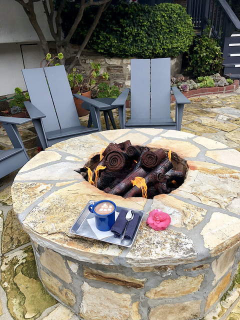 vagabonds house fire pit, hot chocolate, carmel inn by the sea