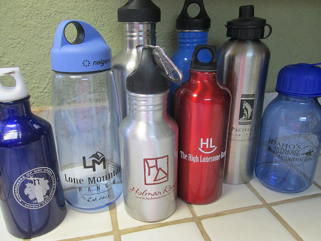 water bottles, water, canteen