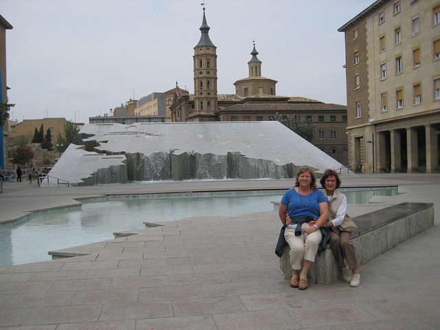 multi-generational travel, nancy d brown, janet mooers, espani fountain, zaragoza, spain