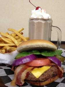 lava rock grill hamburger and ice cream soda