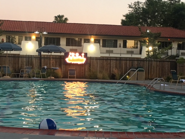 evening shot of pool at Sandman hotel