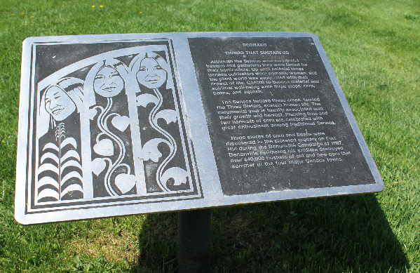 Interpretive signage tells about the significance of various plants to the Seneca